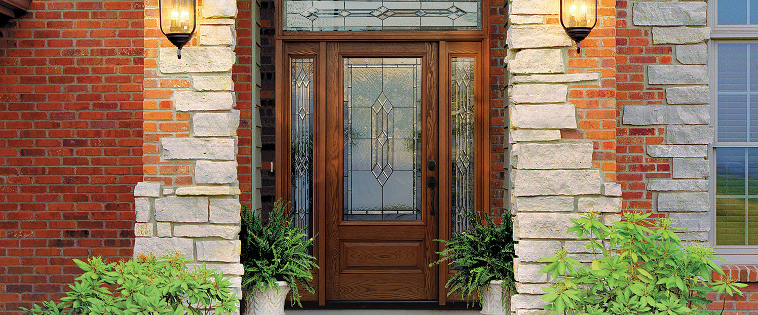 beautiful panel door with two side panels