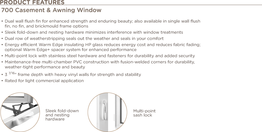 Casement & Awning Window Product Features
