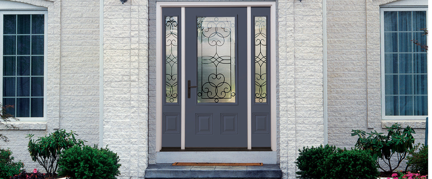 half glass two panel door with two half glass one panel sidelights