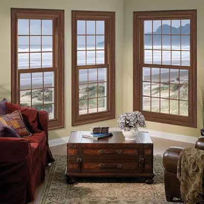 single hung window with brown frame