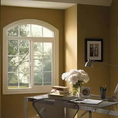 view of a custom shaped window